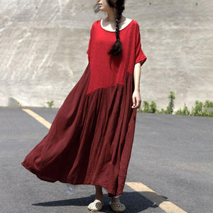 New traveling dress casual Retro Asymmetry Splicing Jacquard Short Sleeve Dress