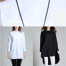 Load image into Gallery viewer, New white Midi-length cotton t shirt plus size clothing cotton maxi t shirts top quality stand collar low high design cotton t shirt