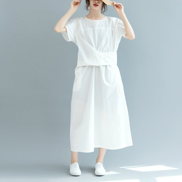 New white cotton maxi dress Loose fitting o neck Cinched traveling clothing 2018 short sleeve baggy dresses