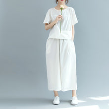 Load image into Gallery viewer, New white cotton maxi dress Loose fitting o neck wrinkled traveling clothing 2018 short sleeve baggy dresses