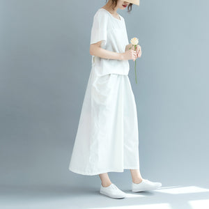 New white cotton maxi dress Loose fitting o neck wrinkled traveling clothing 2018 short sleeve baggy dresses