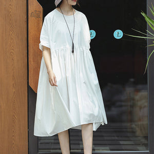 New white cotton maxi dress casual O neck baggy dresses Elegant short sleeve large hem dresses