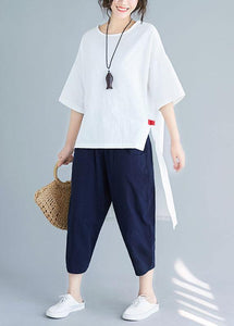 New women's solid color five-point sleeves white shirt casual harem pants two-piece
