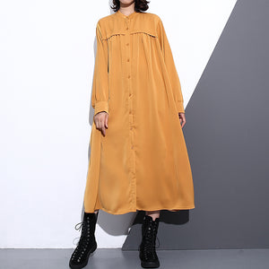 New yellow silk cotton blended caftans plus size clothing stand collar silk cotton blended clothing dress top quality pockets wrinkled caftans