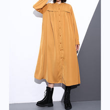 Load image into Gallery viewer, New yellow silk cotton blended caftans plus size clothing stand collar silk cotton blended clothing dress top quality pockets wrinkled caftans