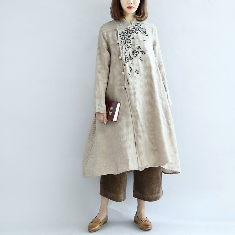 Nude embroidered linen dresses oversized caftans linen gown long dress