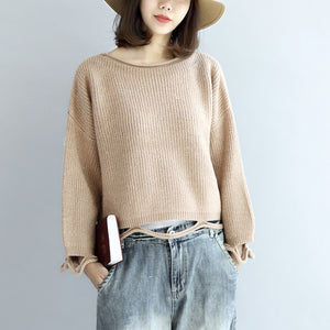 Nude short knit sweaters drop hem oversized women pullover sweater tops