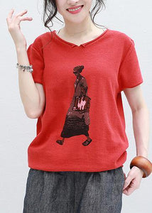 Organic Cartoon print v neck cotton Long Shirts red silhouette summer shirt