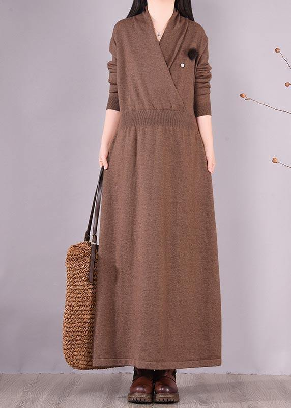 Organic Chocolate Clothes V Neck Asymmetric Dresses Spring Dresses