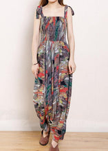 Load image into Gallery viewer, Organic Cotton Sleeveless Fun Vintage Cotton Print Drawstring Loose Jumpsuit