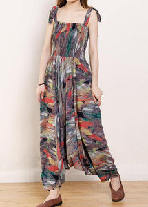 Organic Cotton Sleeveless Fun Vintage Cotton Print Drawstring Loose Jumpsuit