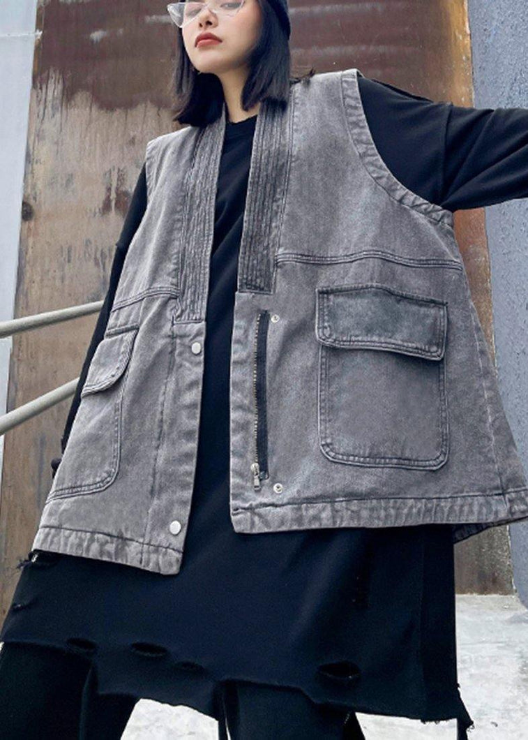 Organic Denim Gray Crane Tops Pockets Spring Tops