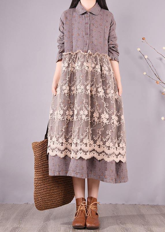 Organic Gray Print Wardrobes Patchwork Lace Long Spring Dresses