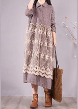Load image into Gallery viewer, Organic Gray Print Wardrobes Patchwork Lace Long Spring Dresses