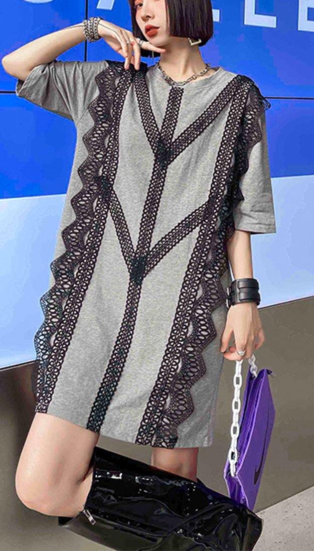 Organic Grey Cotton Patchwork Lace Summer Ankle Dress