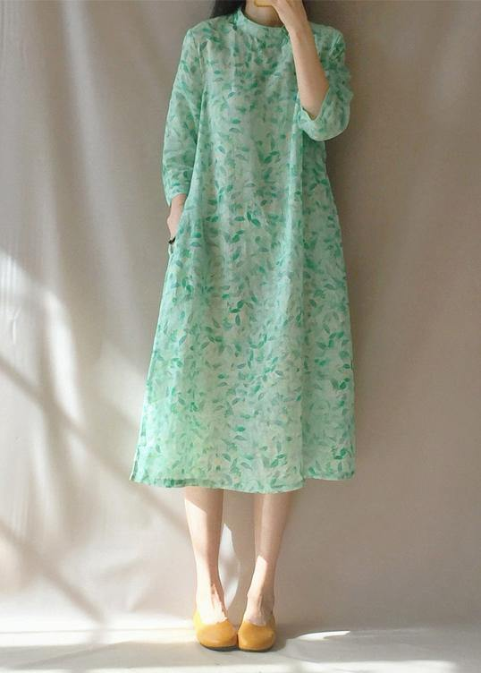 Organic Stand Collar Pockets Tunics Work Outfits Green Leaves Robe Dress