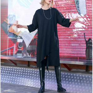 Organic Three Quarter sleeve Cotton tunic top top quality Catwalk black tunic Dresses