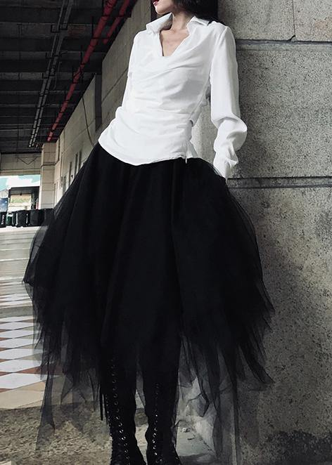 Organic White High Waist asymmetrical design Summer tulle Skirt