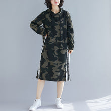 Load image into Gallery viewer, Organic army green print Cotton quilting dresses Korea Work Outfits hooded A Line spring Dresses