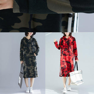 Organic army green print Cotton quilting dresses Korea Work Outfits hooded A Line spring Dresses
