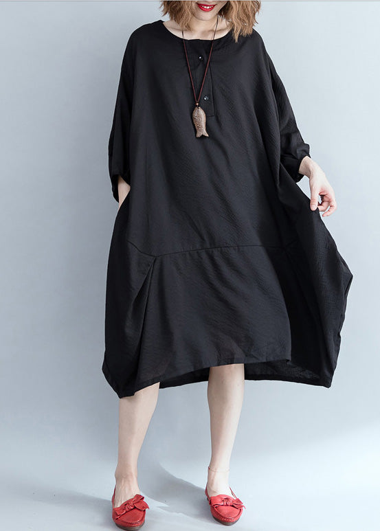 Organic black Cotton clothes Women stylish Work patchwork Knee Summer Dresses