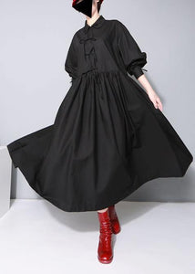 Organic black cotton dresses Peter pan Collar cotton Bow Dress
