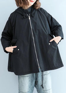 Organic black hooded Fine clothes Sleeve zippered fall short coats