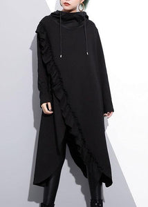 Organic black hooded cotton clothes ruffles long fall Dress