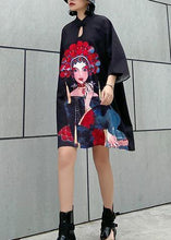 Load image into Gallery viewer, Organic black print Cotton clothes stand collar A Line summer Dress
