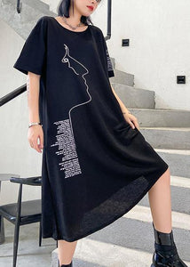 Organic black print Cotton o neck asymmetric oversized summer Dresses