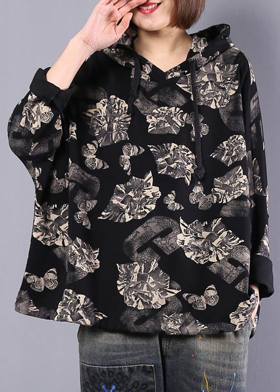 Organic black prints cotton Blouse hooded Plus Size Clothing autumn tops