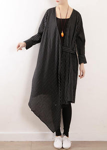 Organic black striped cotton Long Shirts v neck asymmetric Maxi Dresses