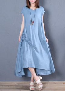 Organic blue cotton clothes For Women v neck Cinched loose Dresses