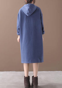 Organic blue false pockets cotton Wardrobes winter long hooded Dress