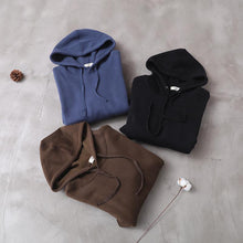 Load image into Gallery viewer, Organic blue false pockets cotton Wardrobes winter long hooded Dress