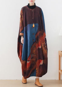 Organic blue print dresses o neck Batwing Sleeve Maxi fall Dress