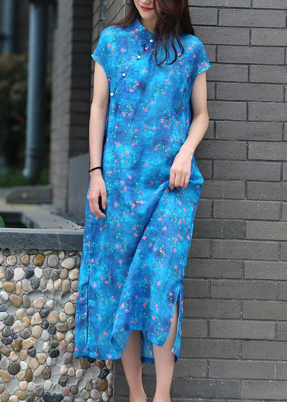 Organic blue print linen clothes For Women stand collar side open Kaftan Dresses