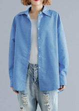 Load image into Gallery viewer, Organic blue white plaid cotton shirts Gifts POLO collar fall top