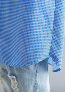 Organic blue white plaid cotton shirts Gifts POLO collar fall top
