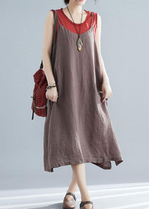 Organic chocolate cotton Tunics sleeveless cotton summer Dresses