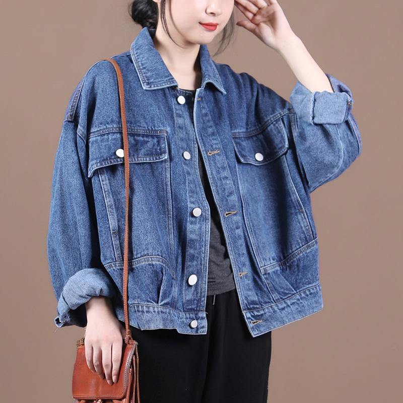 Organic denim blue Fine maxi coat Inspiration lapel fall jackets