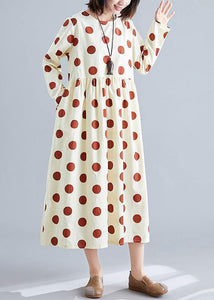 Organic dotted cotton tunics for women Shirts nude cotton robes Dress fall