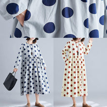 Load image into Gallery viewer, Organic dotted cotton tunics for women Shirts nude cotton robes Dress fall