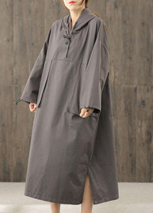 Organic gray tunics for women hooded side open Dress