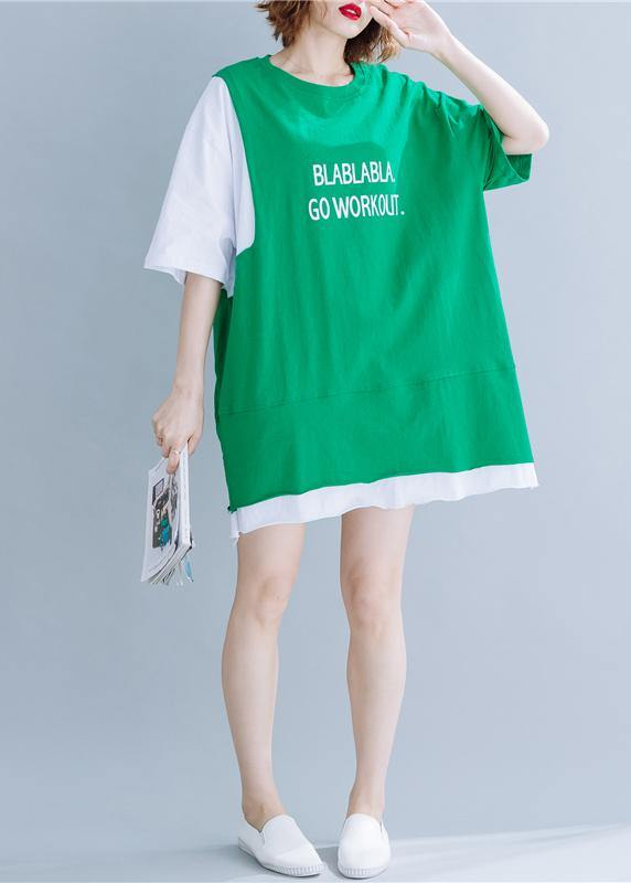 Organic green cotton tops women o neck half sleeve silhouette summer tops