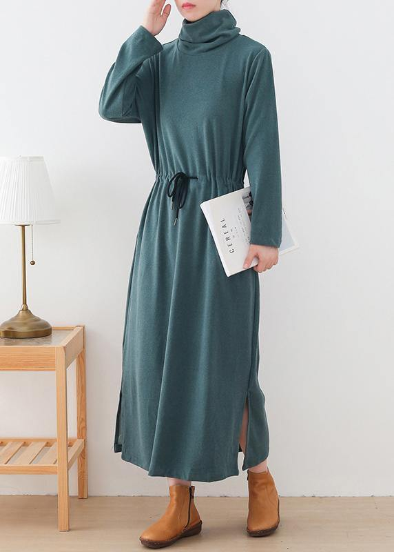 Organic high neck drawstring outfit Photography green Maxi Dresses
