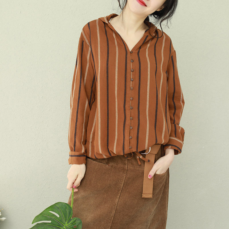 Organic hooded cotton tunic Organic Outfits brown striped Art blouse