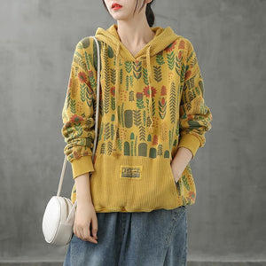 Organic hooded fall crane tops Neckline yellow Plant printing shirts