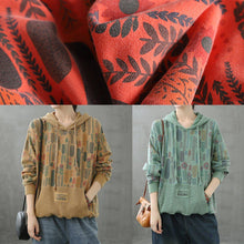 Load image into Gallery viewer, Organic hooded fall crane tops Neckline yellow Plant printing shirts