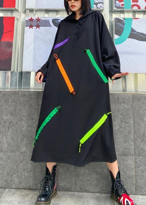 Organic hooded long sleeve fallclothes design black long Dress